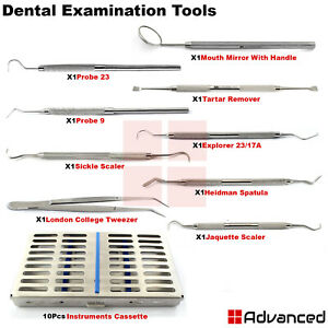 10pcs Dentist Hygiene Examination Kit Tartar Remover Tooth Inspection Pick Tools