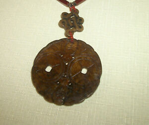 Antique Vintage Chinese Sterling Carved Jade Bat Coin Carnelian Pendant Necklace