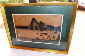 Antique Utagawa Hiroshige Japanese Color Ink Woodblock Print Miho Bay Estate Lot