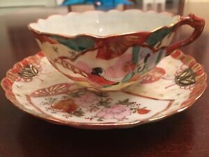 Asian Chinese Japanese Tea Cup Saucer Porcelain Thin Tiny Chip Under Saucer