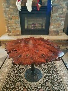 Maple Burl Wood Table Vintage Live Edge Reclaimed Cherry Mahogany