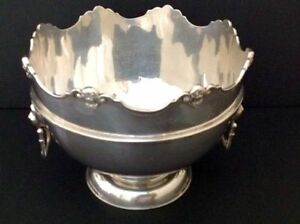 Antique English Sterling Silver Punch Bowl Monteith 1913