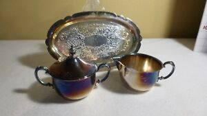 Sheridan Silver Plate Set 3 Pcs With Sugar Cream And Oval Tray