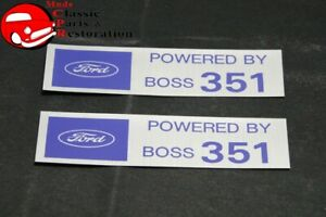 Ford Powered By Boss 351 Valve Cover Decals Pair Aftermarket W Ford License
