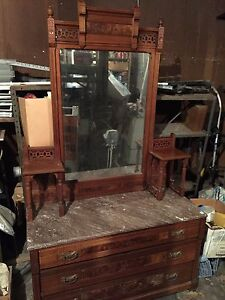Antique Victorian Marble Top Dresser