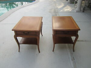 Mid Century Danish Modern Hekman Fruit Wood End Tables Nightstands Set Of 2