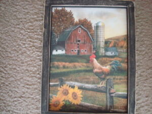 Primitive Country Print Barn With Rooster Black Frame 9 X 12 Free Shipping