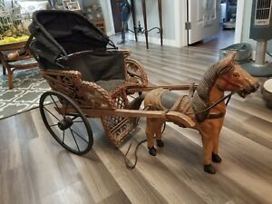 Vintage Antique Big Toy Handmade Wood Wagon Pulled By Horse