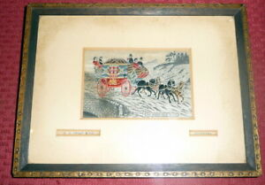 Stevengraph Silk Postcard Wh Grant The Good Old Days York Coach Framed
