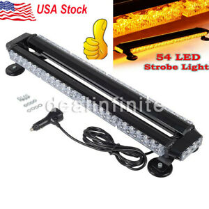 54 Led Traffic Advisor Double Side Emergency Warn Flash Strobe Light Bar Amber