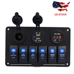 2usb 12v 6 Gang On off Toggle Switch Panel For Car Suv Marine Rv Truck Camper