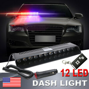 12 Led Car Remote Control Dash Strobe Flash Light Police Warning Light Red