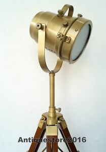 Brass Authentic Vintage Spot Light Studio Tripod Stand Table Lamp Home Decor