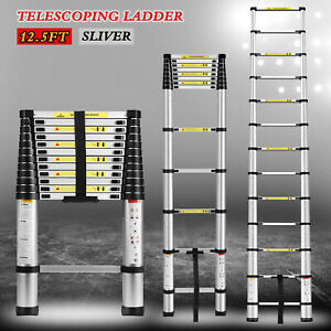 12 5ft Telescoping Extension Ladder Folding Portable Aluminium Step W carry Bag