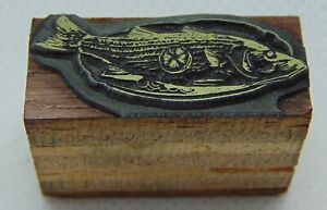 Vintage Printing Letterpress Printers Block Fish Cooked On Plate With Lemon