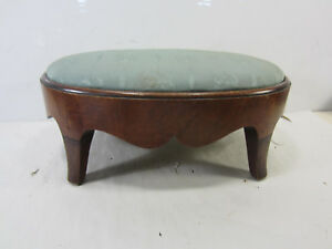 Antique Wooden Oval Foot Stool W Padded Top 17 L X 11 1 2 W X 7 1 2 H