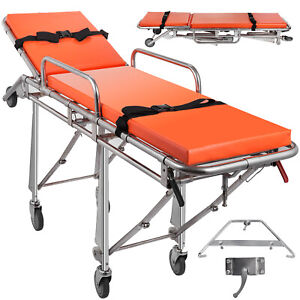 Medical Ambulance Stretcher Belt Foldable Wheels Portable Equipment Emergency