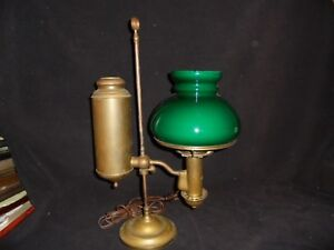 Students Lamp Antique Green Shade German Student Lamp Co 1884 Brass Electrified