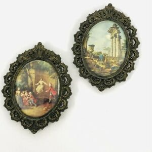 Bubble Glass Vintage Metal Frame Pair Ornate Italy Convex Renaissance Regency