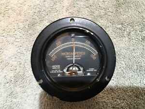 Hickok Panel Meter Sealed Microamperes Center Scale 100 Model 56r Me 334