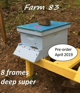 Pre order April Complete 8 Deep Frames Bee Hive With Live Honey Bees