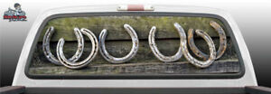 Horse Shoes Lucky Suv Car Perforated Perf Vinyl Rear Window Decal Graphic Truck