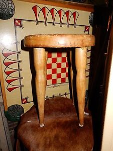 Great Primitive Small Wood Milking Stool Painted H 16