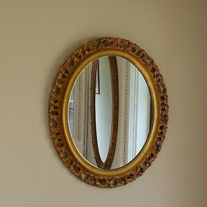 Antique Gilt Wood Florentine Oval Wall Mirror