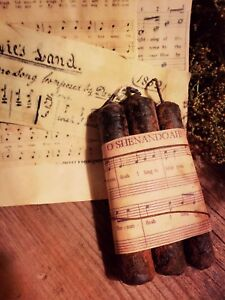 Primitive Grubby Grungy Taper Candles Wrapped With Civil War Sheet Music
