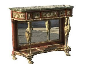 Antique French Empire Napoleon Iii Style Marble Top Console Entry Table