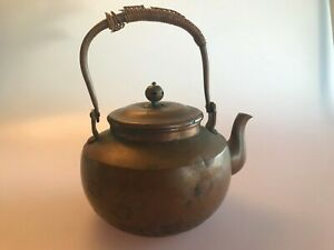 Antique Chinese Copper Tea Pot Kettle With Etched Design Teapot Bamboo Handle