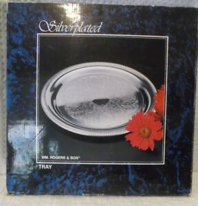 Nib Wm Rogers 12 1 4 Round Silverplated Butler S Serving Tray