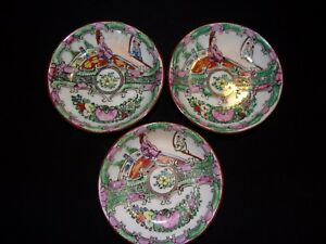 Chinese Famille Rose Medallion Ceramic Condiment Bowls4 Diameter No Chips Cracks