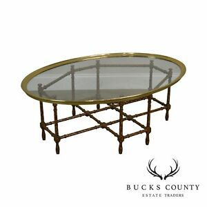 Baker Faux Bamboo Tortise Shell Painted Brass Glass Tray Top Coffee Table
