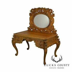 Dragon Carved Asian Writing Desk Or Vanity With Mirror