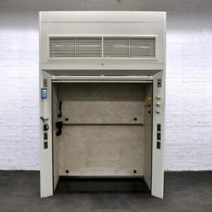 Floor Mount Chemical Laboratory Fume Hood Walk in W Dual Glass Sash 5 Ft Used