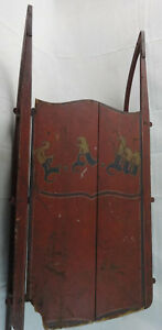 Antique Primitive Wood W Iron Child S Sled Original Paint Initialed Eam