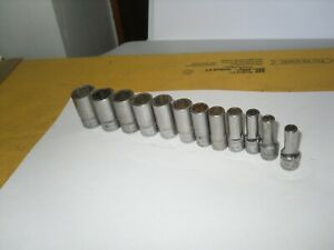 Snap On Tmms 11pc 1 4 Drive 6 Point Metric 5 5mm 15mm Semi Deep Chrome Socket
