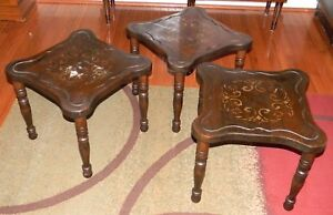 Vintage Mid Century Modern Nesting Stacking Wood Table Set Of 3 Tapered Legs