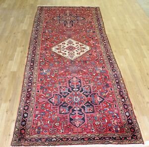 On Sale 4 X11 5 Antique Heriz Wool Handmade Persian Oriental Runner Rug Carpet