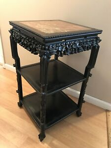 19th Century Antique Asian Chinese Hand Carved Rosewood Table W Rose Marble
