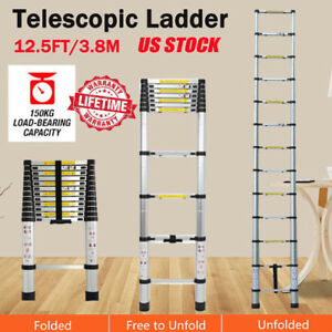 12 5ft Multi Purpose Aluminum Telescopic Ladder Heavy Duty Folding Extension