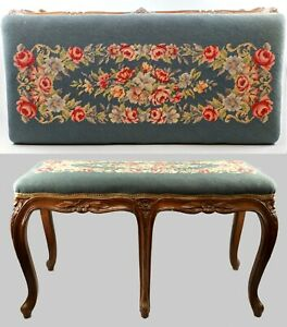Victorian Fine Needlepoint Piano Bench