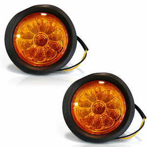 2 11 Led 4 Round Stop Tail Turn Signal Truck Tractor Trailer Light Amber 12v