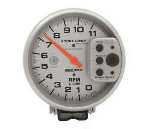 Auto Meter 5in S C Silver 11000 Rpm Playback Tach P N 3965