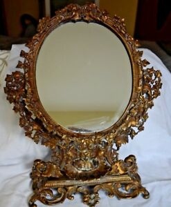 Antique Victorian Cast Brass Broze Frame Standable Vanity Table Mirror 19 C