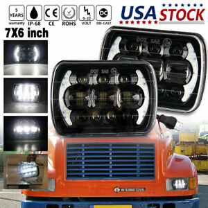 For International Ihc Headlight Assembly 9200 9900 9400i 7x6 Led Headlights Pair