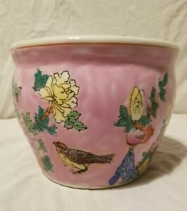 Antique Pink Ground Famille Rose Fishbowl Planter