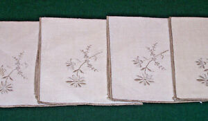 4 Vintage Floral Hand Embroidered Linen Napkins Luncheon Sized 10 Never Used