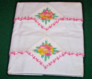 Spectacular Vintage Pillowcases Crocheted Cabbage Rose Trim Never Used C1930